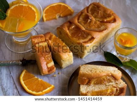 orange variety, orange cake with orange juice and orange liqueur
