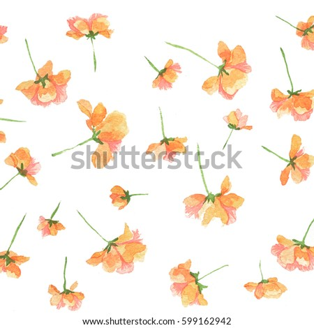 orange vintage flowers. square...