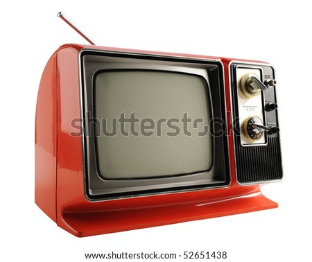 Orange vintage television from the 1970s - With clipping path