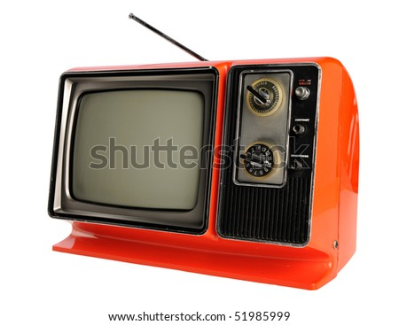 Orange vintage television with antenna isolated over white background - With clipping path