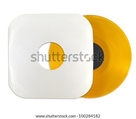 Orange vinyl record with cover isolated on white background