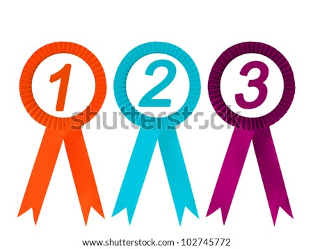 Orange  violet and blue ribbon award isolated , clipping path - stock photo
