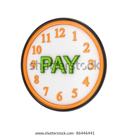 Orange watch and green word PAY.Isolated on white background.3d rendered.