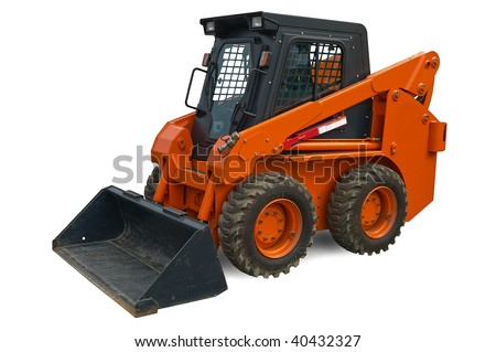 Orange wheel mini excavator isolated over white. With clipping path. Close up