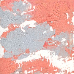 Orange, white and gray color abstract art background. Acrylic paste on watercolor paper.
