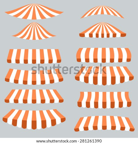 Orange White Tents Isolated on Grey Background.
