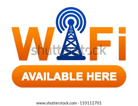 Orange Wifi Available Here Sign Isolated on White Background