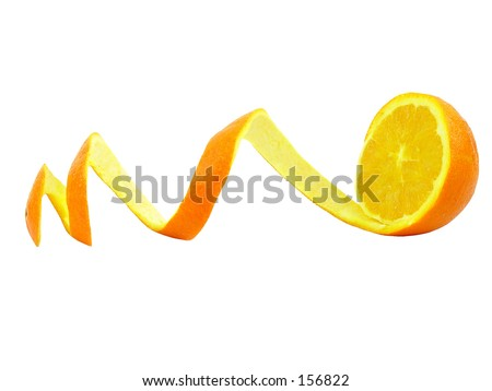 Orange with curly peeled skin on a white background