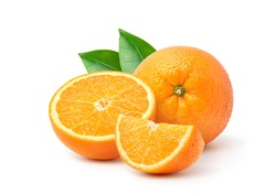 Orange  with cut in half and green leaves isolated on white background.