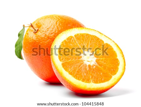 orange with green leaf and slice