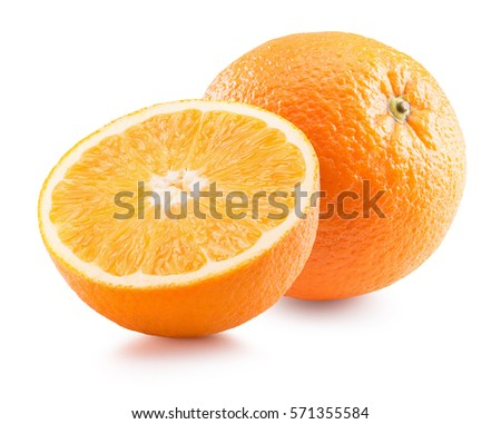 orange with half of orange isolated on the white background #571355584