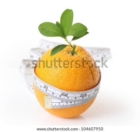 orange with measuring isolated on white background