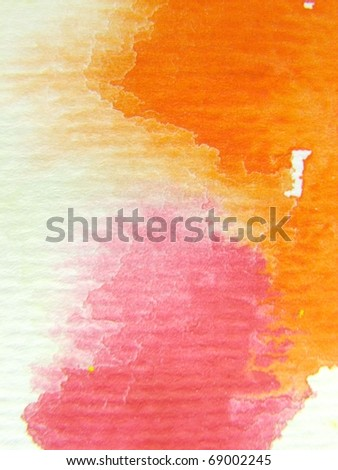 Orange with Pink Watercolor Background