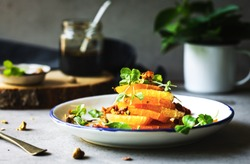 Orange with Rosella sprout,Sun dried tomato and Pistachio salad with Balsamic dressing