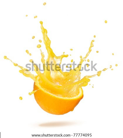 orange with splash isolated on white background