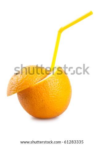 orange with tube isolated on white