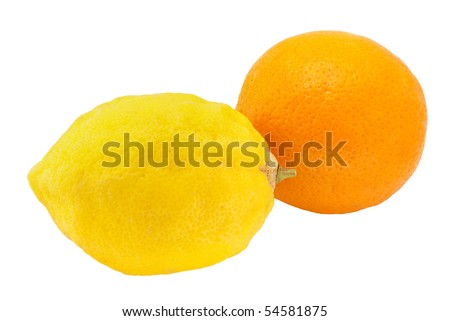 orange with unwaxed lemon isolated stock photo 54581875 shutterstock. Black Bedroom Furniture Sets. Home Design Ideas