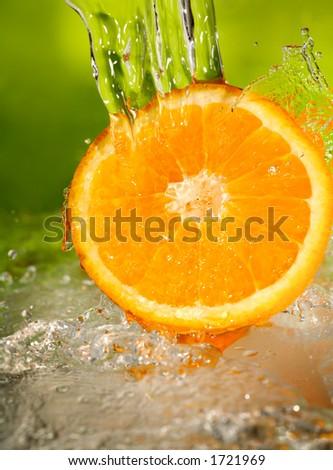 Orange with water splash.