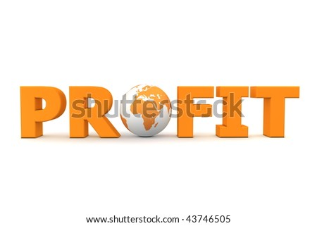 orange word Profit with 3D globe replacing letter O