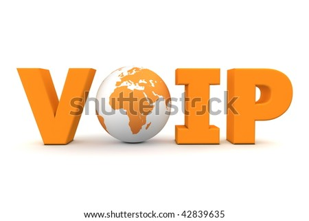 orange word VoIP with 3D globe replacing letter O