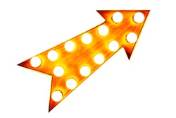 Orange, yellow and reddish color vintage bright and colorful illuminated metallic display arrow sign with glowing light bulbs isolated on a seamless white background