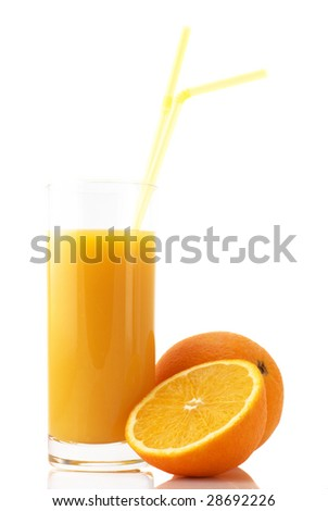 Oranges and glass of juice on white background.