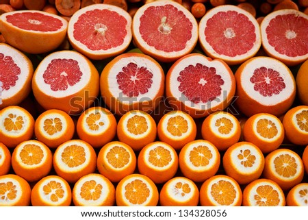 Oranges and grapefruits on a Turkish market - stock photo