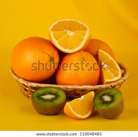 oranges and kiwi on a yellow background