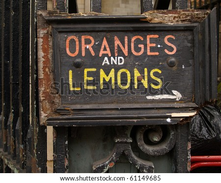 Oranges and Lemons, old rustic sign.
