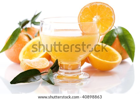 Oranges and orange juice in a glass