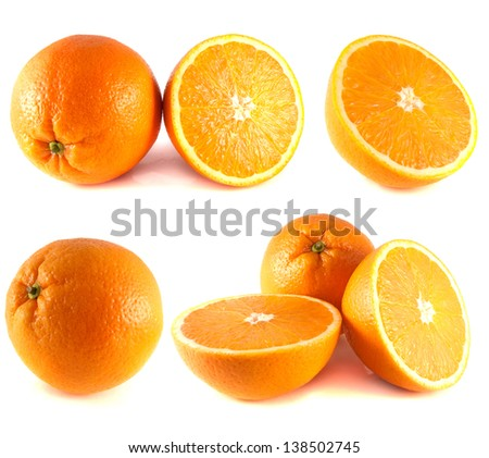 Oranges collection isolated on white background (set).