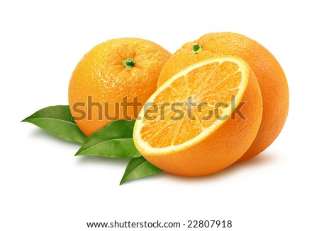 Oranges isolated on a white background with a clipping path.