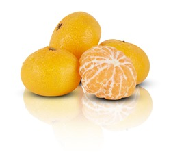 oranges mirror shadows reflections on white background