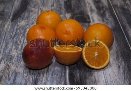 Oranges on wood texture #595045808
