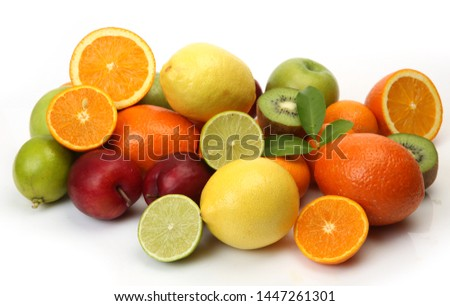 oranges, plum and other fruits on a white background #1447261301