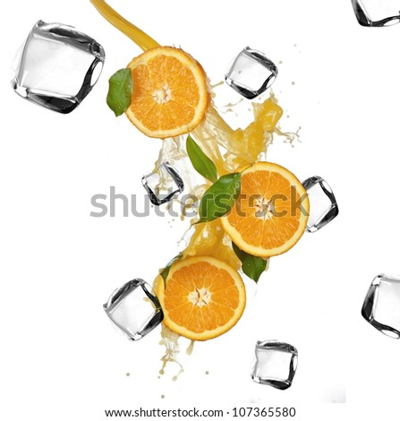 Oranges with Ice cubes over white