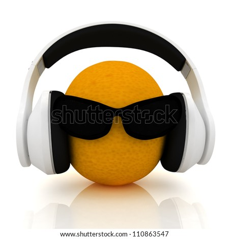 """oranges with sun glass and headphones front """"face"""" on a white background"""