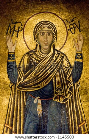 Oranta (Virgin Mary) in Orthodox cathedral St. Sophia, Kiev, Ukraine