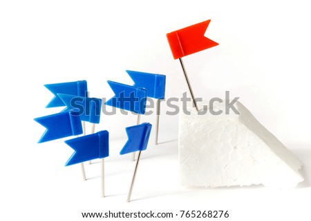 orator concept made from marking flag pins on white background.