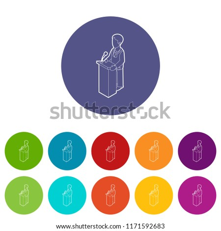 Orator speaking from tribune. Outline illustration of orator speaking from tribune icons color set for any web design on white background