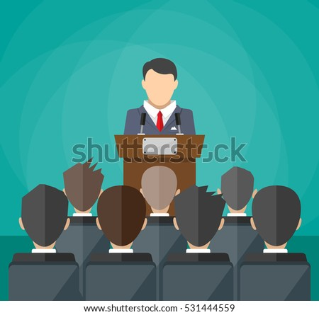 orator speaking from tribune. public speaker and crowd on chairs. illustration in flat style