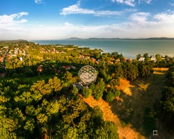 Orb lookout point in Balatonboglar Hungary. Lake balaton and Bafdacsony mountain is on the background. This place is next to an adventure park.