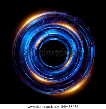 Orb neon rays. luminous hole. Spiral cover. Black neural HUD. Halo around. Power isolated. Sparks particle. Space tunnel. Glossy face. LED color ellipse. Glint gold glitter. Glow clock. Iris eye robot