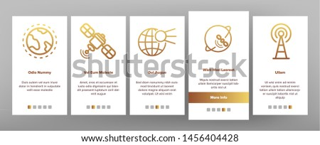 Orbital Sputnik Linear Onboarding Mobile App Page Screen. Sputnik Thin Line Contour Symbols. Cosmos Exploration, Astronautics. Satellite Dish, Space Shuttle, Radar Tower Illustrations
