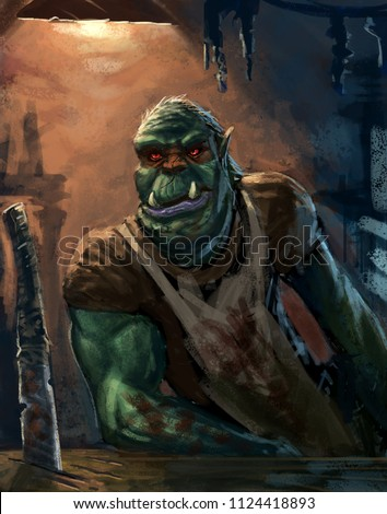 Orc butcher in his shop waiting for an adventurer to make a choice - Digital fantasy painting
