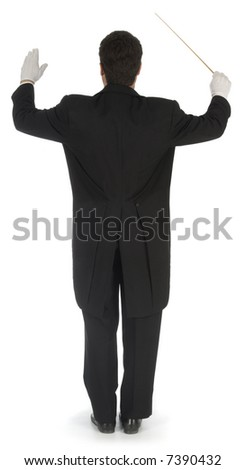 Orchestra conductor facing away from the camera against a white background