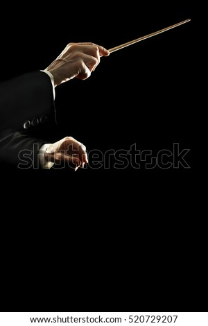 Orchestra conductor music conducting. Conductors hands with baton stick isolated on black background #520729207