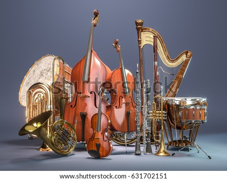 Orchestra musical instruments on grey background. 3D rendering