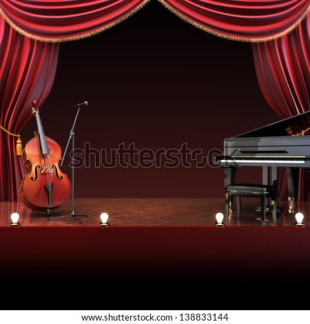 Orchestra symphony themed stage with room for text or copy space advertisement. Part of a music staged concept series.