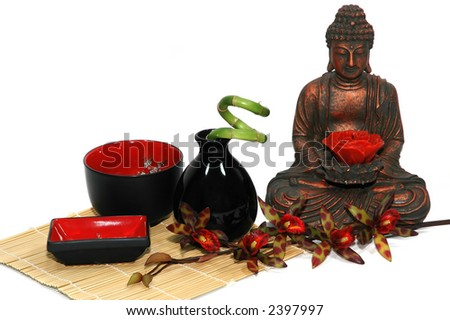 Orchid, candle, Buddha, Asian bowls and vase